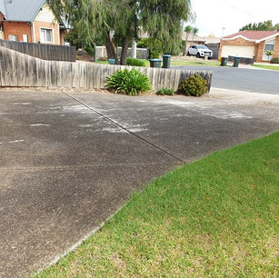 Concrete driveway before pressure cleaning