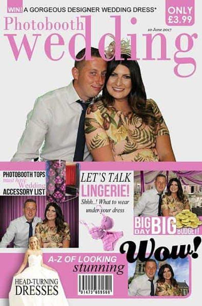 Magazine cover themed photo produced at a wedding by a photo booth