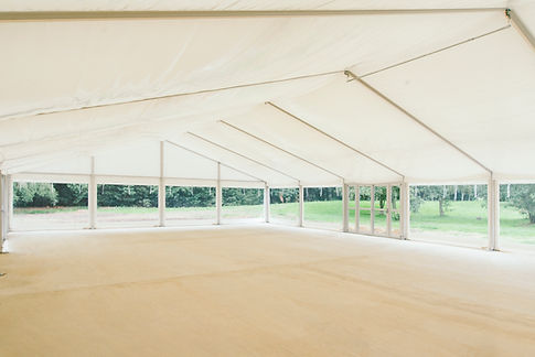 The newly erected marquee with the sides left open - the indoor merging with the outdoor space