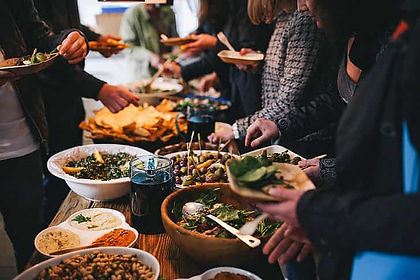 buffet style meal served at  business conference venue
