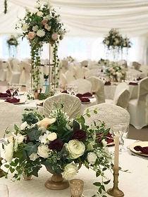 Table arrangement at  marque wedding venue