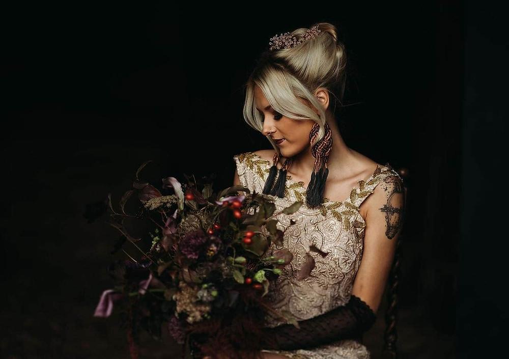 Bride wearing a gold vintage dress