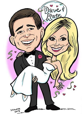 Wedding entertainment - caricature representing the bride and groom