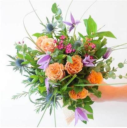 Orange and purple bridal bouquet
