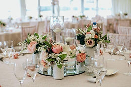 Formal dinner arrangement at  our marquee wedding venue.