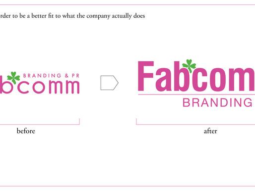 ロゴと名刺のリニューアル:Fabcomm / Branding & PR firm