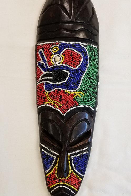 "Beaded Decorative Mask - Sankofa (18""×4"")"