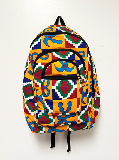 Backpack, Cloth - Adinkra Kente Print