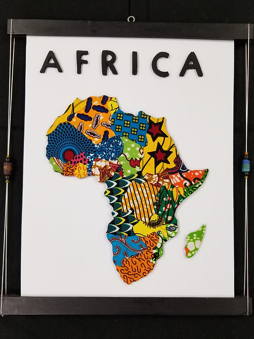 Map of Africa, Cloth on Plexiboard