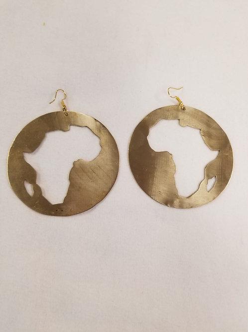 Brass Africa Earring - Cut Out