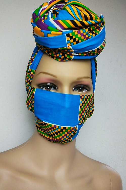 Summer Kente Print Mask/Head Wrap Set