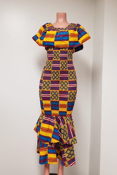 Kente Print Body Glove Dress