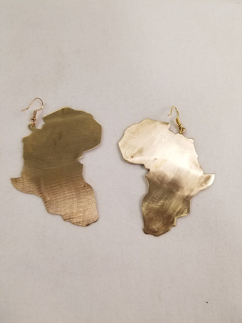 Brass Africa Earring - Solid