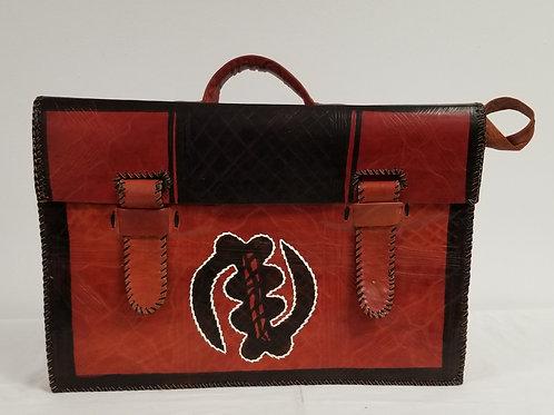 Camel Hide Briefcase - Gye Nyame - Black Ctr. Squared