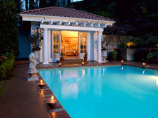 Cover photograph of villa-style pool and poolhouse by architecture photographer Timothy J. Park