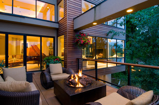 Architecture photography of an outdoor living room in Portland, Oregon
