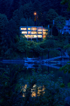 Home on the Willamette River in Portland, Oregon.  By Oregon architecture photographer Timothy J. Park