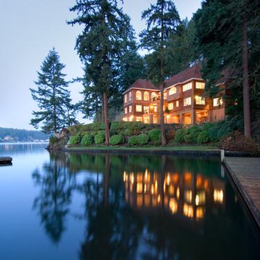 Lake Oswego Paradise - Lake-side cedar sided home photographed at dusk by Oregon architecture photographer Timothy Park