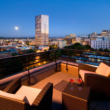 View from the Veranda of a Pearl District penthouse in Portland Oregon.  By archtecture photographer Timothy J. Park