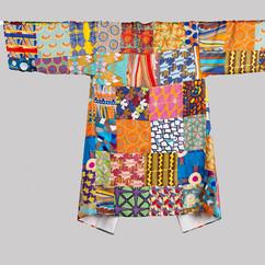 4. kimono mid length silk patchwork back