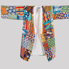 4. kimono mid length silk pacthwork fron