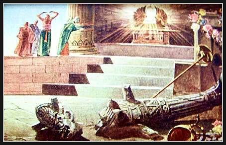 Poole on 1 Samuel 5:3:  Dagon Laid Prostrate before the Ark!