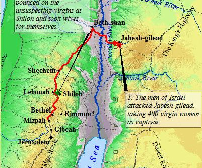 Judges 21:8-11:  Orders to Destroy Jabesh-Gilead