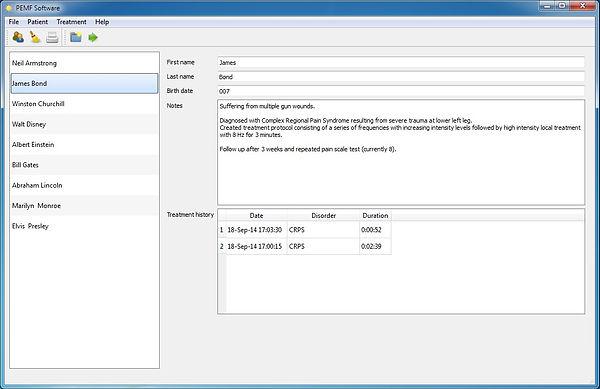 PEMF software treatment screen