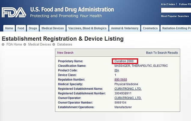 FDA Curatron 2000 listing for website.jp