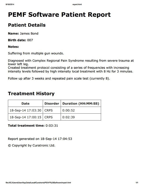 PEMF software patient report