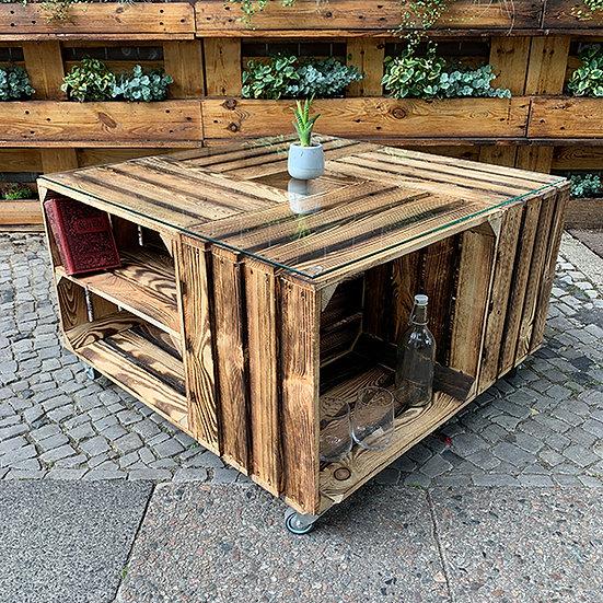 """Rolltisch """"ARNE"""" aus Massivholzkisten 80x80x50cm"""