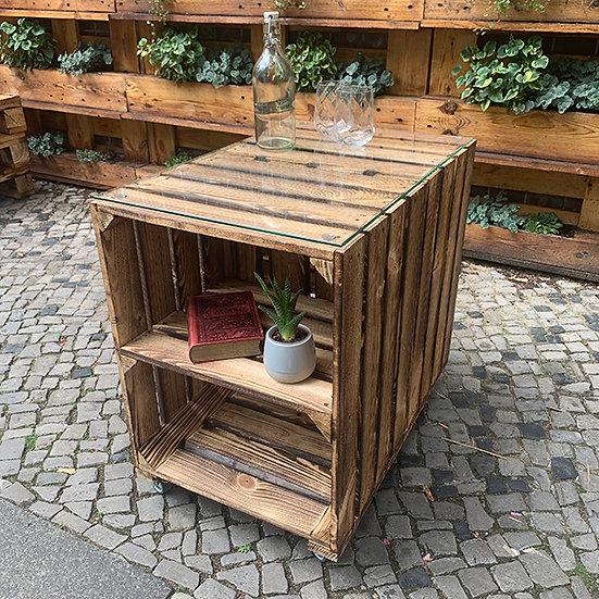 """Rolltisch""""MARIUS"""" aus Massivholzkisten 60x40x60cm"""