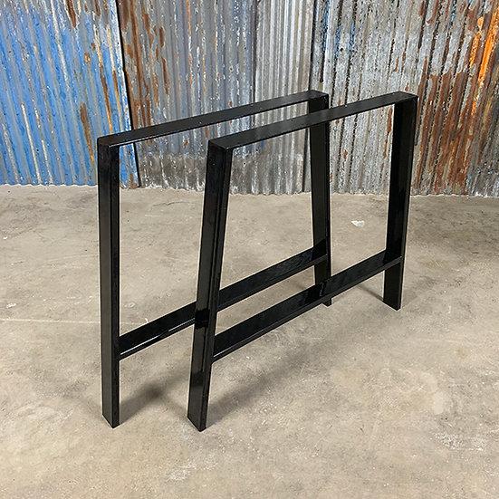 Kufen für Tischplatten   A-Form   Stahl   glänzend schwarz   73x73x6 cm (2 Stk.)