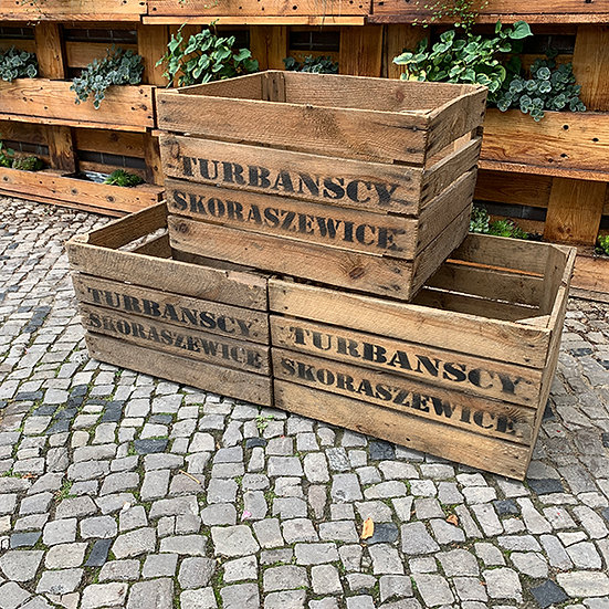 """3er Set Vintage Holzkiste """"Turbanscy Skoraszewice"""" 50x40x30cm"""