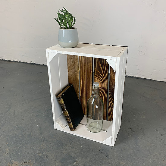 "Neue weiß-geflammte Kiste ""Neuruppin"" 38x28x15cm"