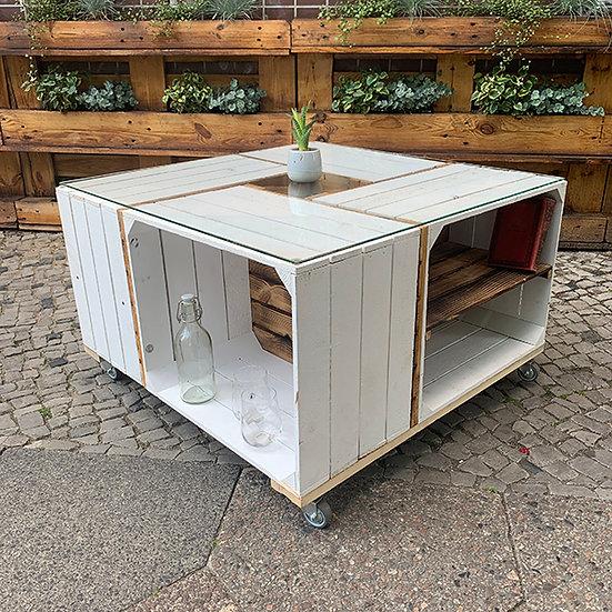 """Rolltisch """"MARCO"""" aus weiß-geflammten Holzkisten 80x80x50cm"""