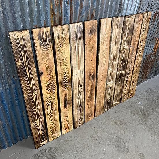 10er Set Geflammte Palettenbretter | 120x14,5cm