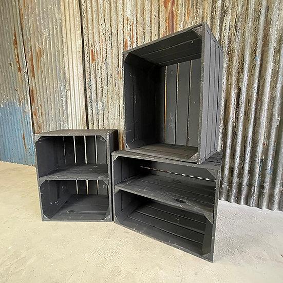 """3er Set gemischt Neue schwarze Holzkiste """"TXL"""" 50x40x30cm"""