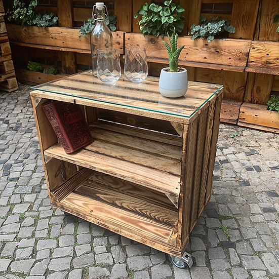 "Rolltisch ""CHRISTIAN"" aus Massivholzkisten 50x50x30cm"
