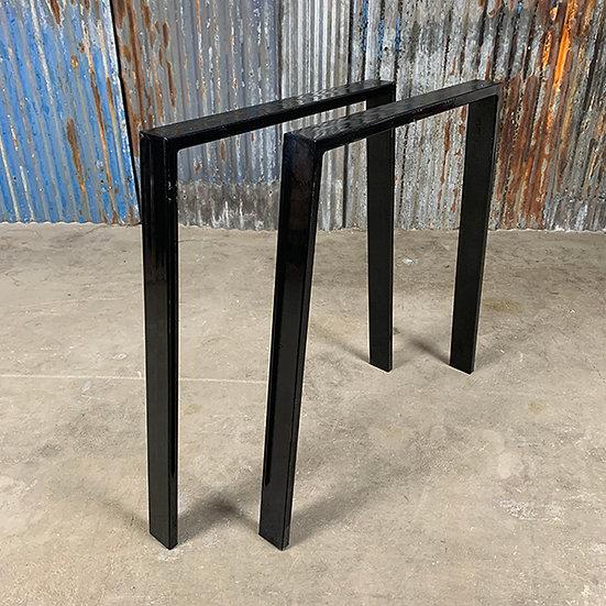 Kufen für Tischplatten | Trapez | Stahl | glänzend schwarz | 73x73x6 cm (2 Stk.)