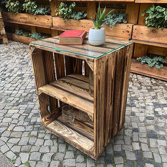 """Rolltisch """"OLIVER"""" aus Massivholzkisten 40x60x30cm"""