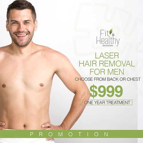 Laser hair removal for men_Back or Chest / ONE year treatment