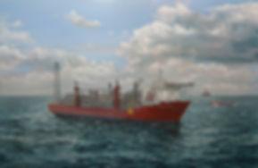 Teekay Petrojarl Knarr in operation, North Sea, Britsh Gas. Painting by Robert G Lloyd, England