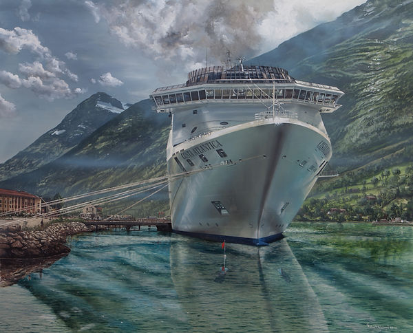 Costa Atlantica at Flam, Norway. Carnival Corporation, Miami. Oil painting on canvas by Robert G Lloyd. England