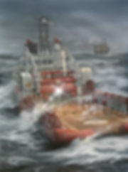 Anchor Handler in heavy weather. Offshore oil industry large scale painting, oil on canvas by Robert G Lloyd, England