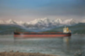 Penelope I anchored in English Bay, Vancouver. Oil on canva painting by Robert G Lloyd
