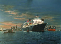 Quee Mary 2 departing New York at Night. Oil Painting on canvas
