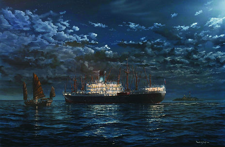 Blue Funnel Memnon approaching Singapore in moonlight oil on canvas painting