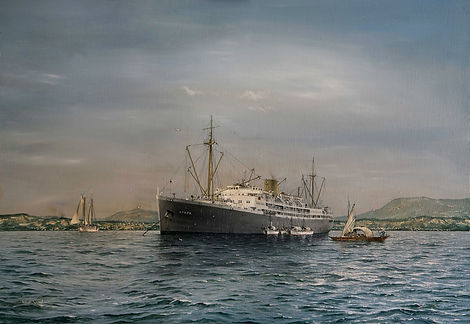 Apapa at anchor, West Africa, oil on canas painting