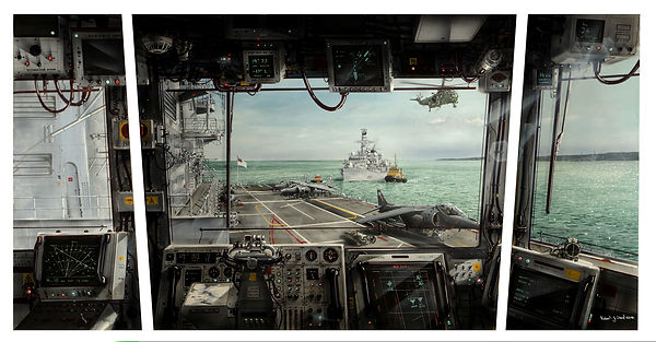 Bridge Triptych view from the Bridge of HMS Illustrious